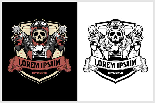 Old School Classic or retro style biker skull riding motorcycle vector badge template