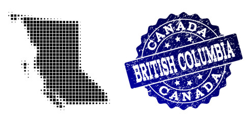 Geographic composition of dot map of British Columbia Province and blue grunge seal stamp watermark. Halftone vector map of British Columbia Province composed with square points.