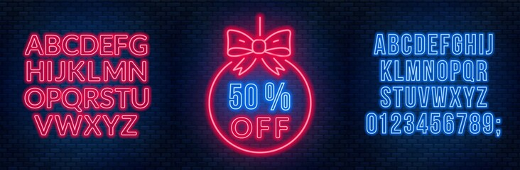 Sale neon sign and fonts on a dark background. Template discounts and offers.