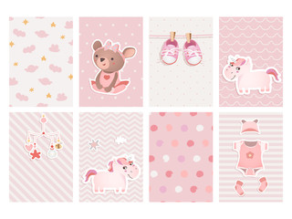 Set of cards for baby shower design with a teddy bear, unicorns, gumshoes.