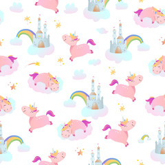 Seamless pattern with unicorns, rainbows and castles.