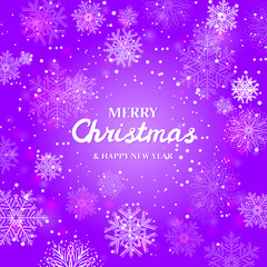 White snowflakes on purple background.  Merry Christmas Greetings card