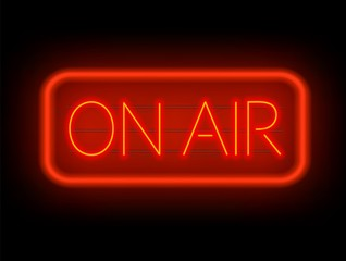 On air neon glowing sign on a dark background. Vector illustration.