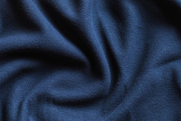 Texture of fleece, dark blue soft fabric