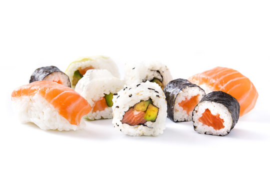 sushi assortment on black tray isolated on white background