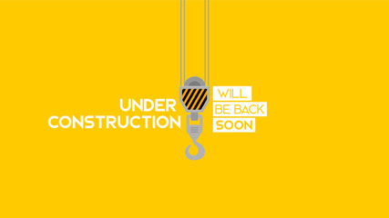 simple under construction sign in yellow background