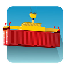 isolated crane container lifting in blue sky with long shadow round icon vector illustration