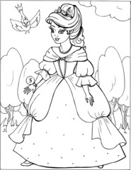 Fashion parade. Coloring the Beautiful Princess. Vector illustration. Coloring  book, lady, girl 5