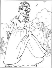 Fashion parade. Coloring the Beautiful Princess. Vector illustration. Coloring  book, lady, girl 6