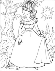 Fashion parade. Coloring the Beautiful Princess. Vector illustration. Coloring  book, lady, girl 7