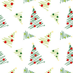 Sketch christmas tree pattern