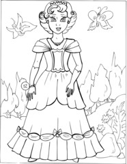 Fashion parade. Coloring the Beautiful Princess. Vector illustration. Coloring  book, lady, girl 12