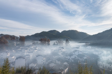 wuyuan landscape of shicheng village in morning
