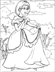 Fashion parade. Coloring the Beautiful Princess. Vector illustration. Coloring  book, lady, girl 14