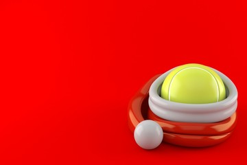 Tennis ball inside santa hat