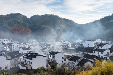 chinese shicheng village landscape in morning