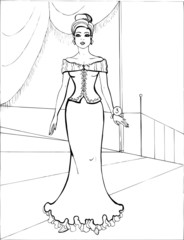 Fashion parade. Coloring the Beautiful Princess. Vector illustration. Coloring  book, lady, girl 19