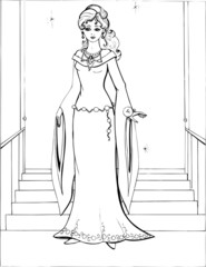 Fashion parade. Coloring the Beautiful Princess. Vector illustration. Coloring  book, lady, girl 20