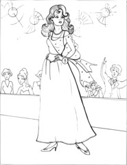 Fashion parade. Coloring the Beautiful Princess. Vector illustration. Coloring  book, lady, girl 25