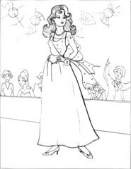 Fashion parade. Coloring the Beautiful Princess. Vector illustration. Coloring  book, lady, girl 25