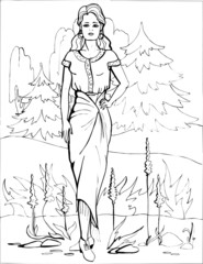 Fashion parade. Coloring the Beautiful Princess. Vector illustration. Coloring  book, lady, girl 36