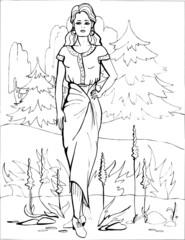 Fashion parade. Coloring the Beautiful Princess. Vector illustration. Coloring  book, lady, girl 36