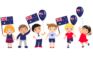 Funny kids of different races with various hairstyles with flags. graphic design to the Australia holidays.