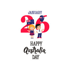 national holiday Australia Day on January 26 for the graphic design. vector graphics illustration. kids with flag