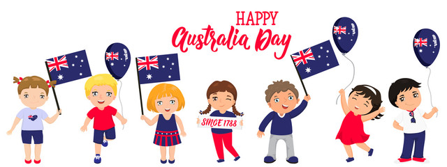 Australia Day card. Funny kids of different races with various hairstyles with flags.