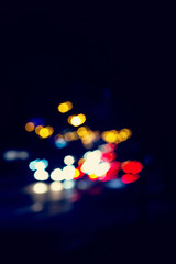 lights of the night city. unfocused photo