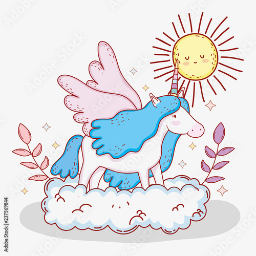 Cute Unicorn With Horn And Hairstyle In The Cloud Stock Image And