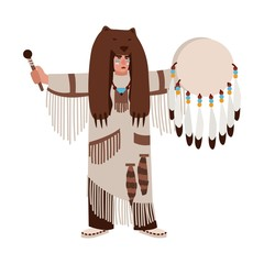 American Indian wearing bearskin and ethnic clothes beating his drum and calling spirits. Shaman priest or medicine man performing religious ceremony. Vector illustration in flat cartoon style.