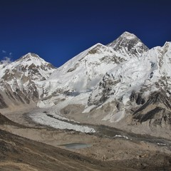 Wall Murals Nepal Everest Base Camp and Mount Everest seen from Kala Patthar. Khumbu Glacier, Nepal.