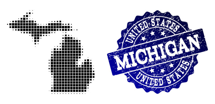 Geographic collage of dot map of Michigan State and blue grunge seal stamp watermark. Halftone vector map of Michigan State composed with rectangle pixels. Flat design for infographic illustrations.