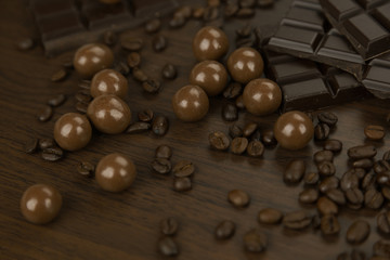 Assorted milk and dark chocolate with coffee beans