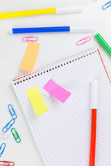 Colorful business or school stationery flat lay
