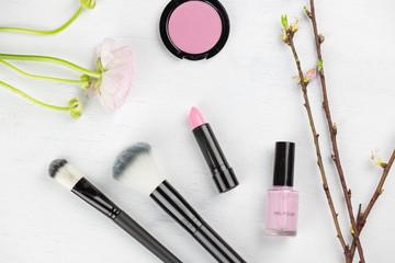 Pink themed spring cosmetics flat lay still life