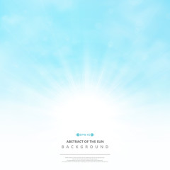 Abstract of the sun with clouds on soft blue sky background.