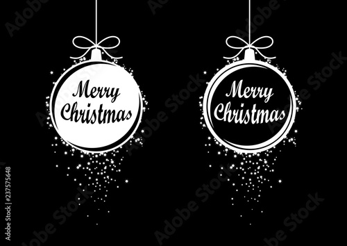 Merry Christmas Black Ornaments Vector Holiday Background With