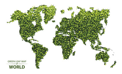 Green leaf map of the world