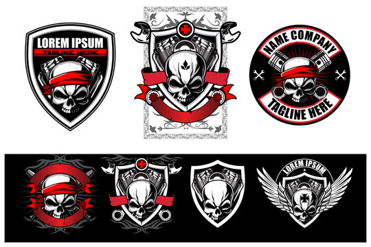 skull biker with piston, wrench and V-twin motorcycle engine vector label, t-shirt design and logo template collection