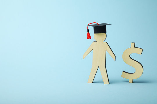 Education cost in college and school. Student fund.