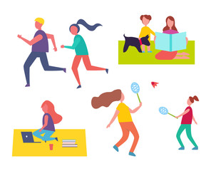 People Jogging Playing Games Vector Illustration