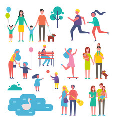 Children and Family Set Icons Vector Illustration