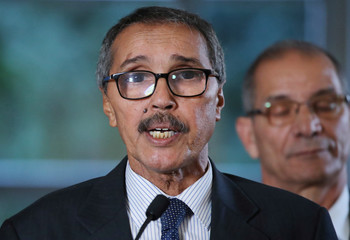 Khatri Addouh, leader of the Sahrawi delegation and Frente Polisario, attends a news conference after a roundtable on Western Sahara at the United Nations in Geneva