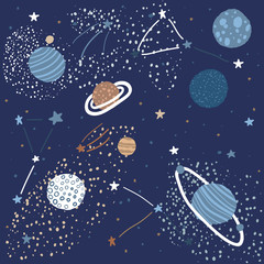 Childish Pattern with Space Elements