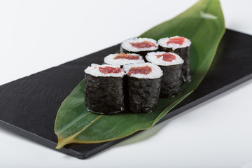 Set of maki sushi with red filling