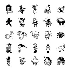 Fairy Tale II glyph vector icons
