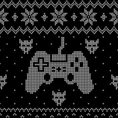 Video gaming themes Ugly Christmas sweater style seamless pattern