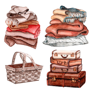 Watercolor set of warm and cozy objects lice vintage suitcase, soft blankets for winter time and wooden basket